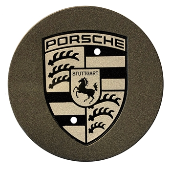 Porsche Center Wheel Cap - Black with Gold Crest